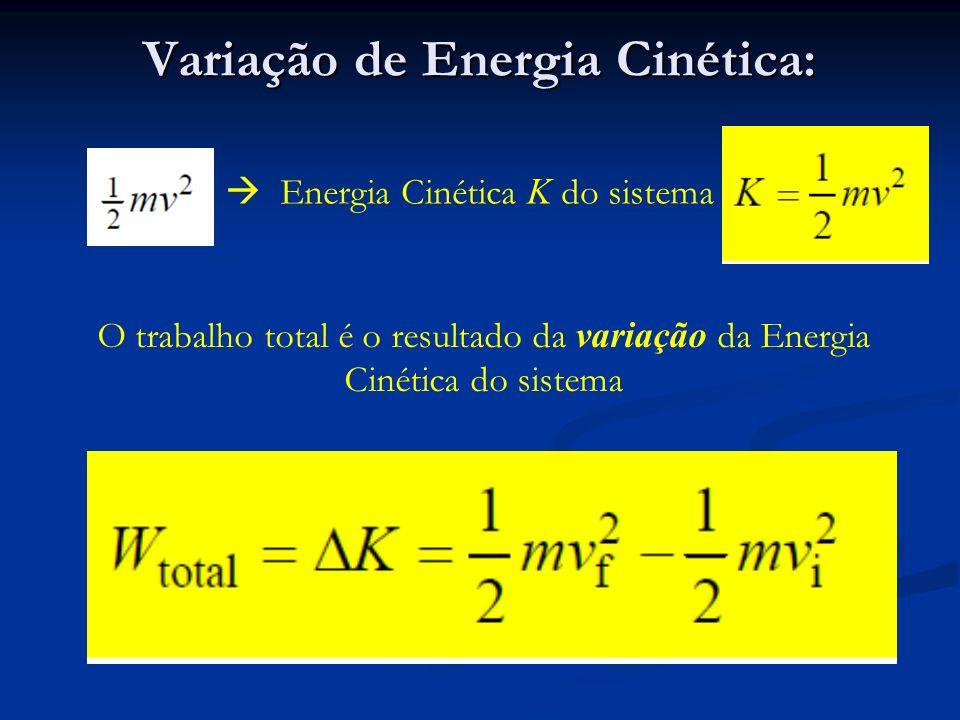 Variação de Energia Cinética: Energia Cinética K do sistema O trabalho total é o resultado da variação da Energia Cinética do sistema