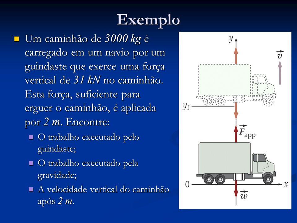 Exemplo Um caminhão de 3000 kg é carregado em um navio por um guindaste que exerce uma força vertical de 31 kN no caminhão. Esta força, suficiente par