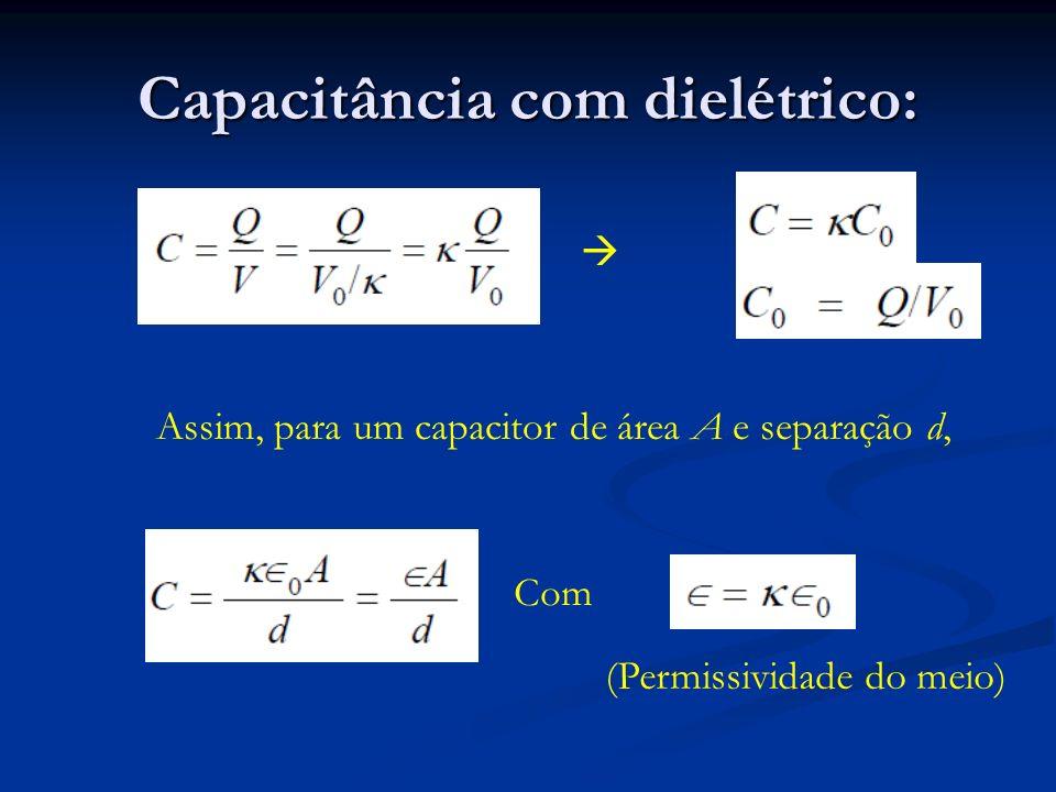 Capacitâncias equivalentes: Capacitâncias equivalentes: Paralelo: Paralelo: Série: Série: Dielétricos Campo elétrico: Campo elétrico: Capacitância: Capacitância: