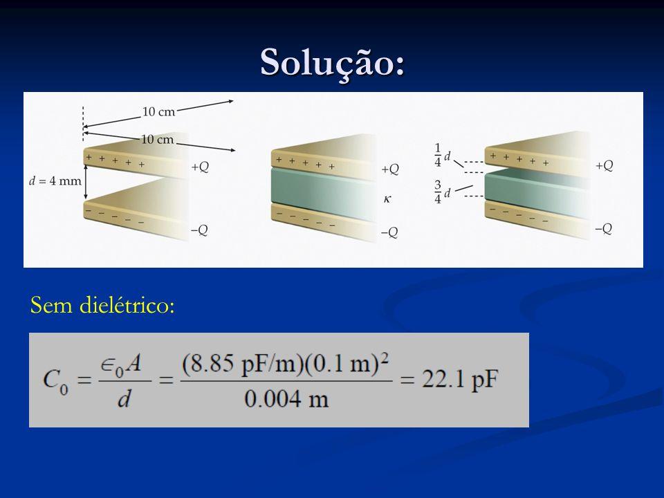 Com dielétrico: =2 (Capacitância aumenta de um fator =2)