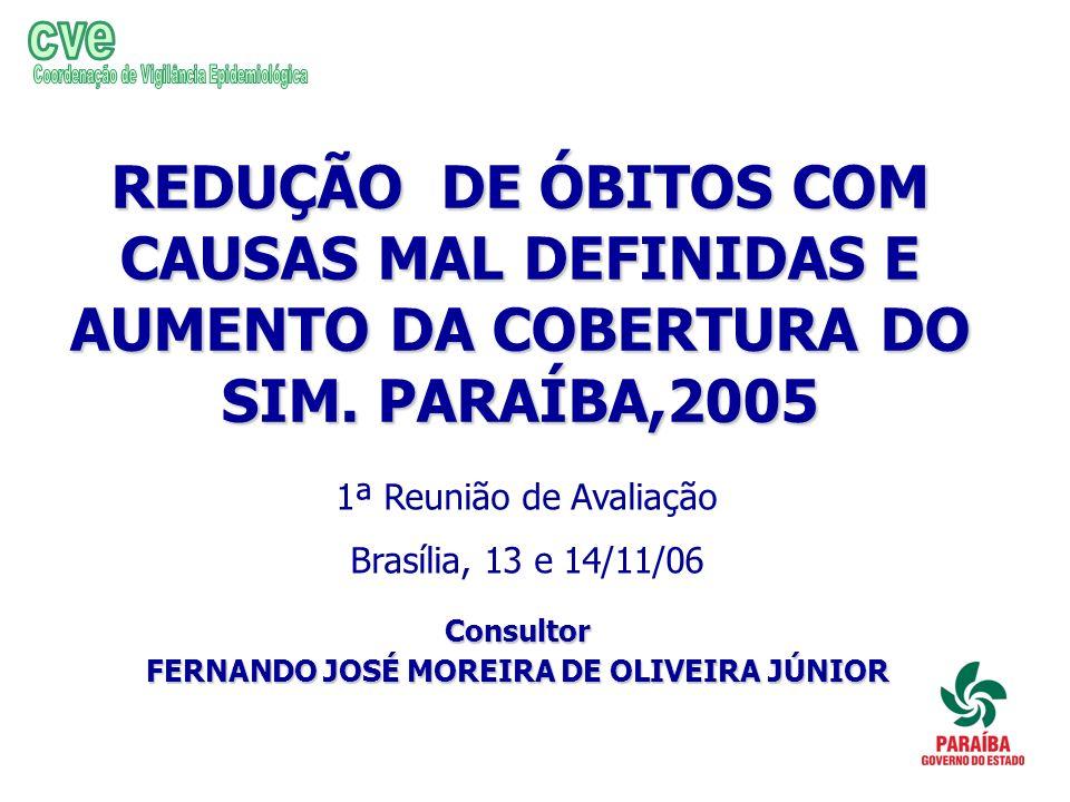REDUÇÃO DE ÓBITOS COM CAUSAS MAL DEFINIDAS E AUMENTO DA COBERTURA DO SIM. PARAÍBA,2005 Consultor FERNANDO JOSÉ MOREIRA DE OLIVEIRA JÚNIOR 1ª Reunião d