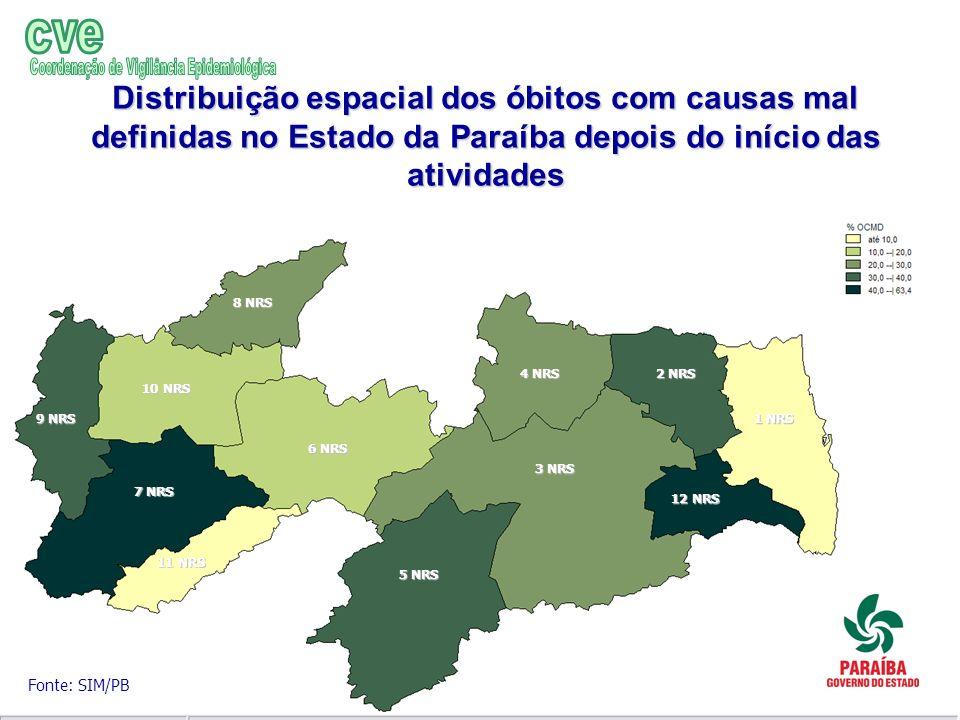 Distribuição espacial dos óbitos com causas mal definidas no Estado da Paraíba depois do início das atividades Fonte: SIM/PB 1 NRS 2 NRS 3 NRS 4 NRS 5