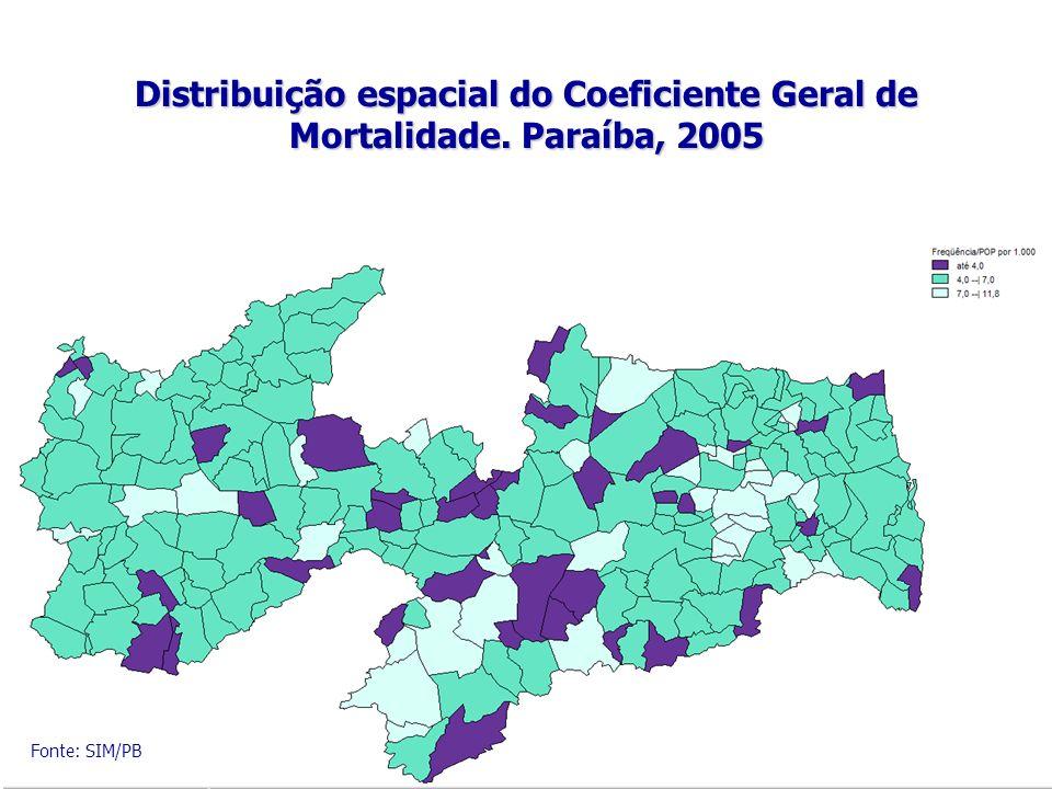 Distribuição espacial do Coeficiente Geral de Mortalidade. Paraíba, 2005 Fonte: SIM/PB