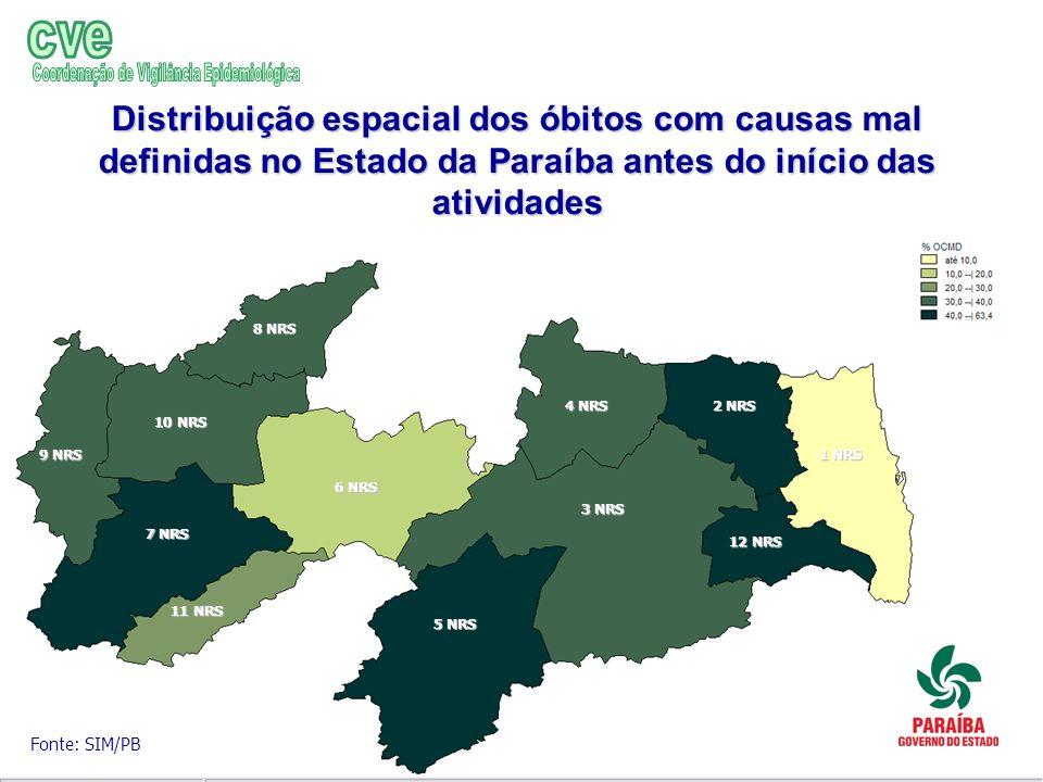 Distribuição espacial dos óbitos com causas mal definidas no Estado da Paraíba antes do início das atividades Fonte: SIM/PB 1 NRS 2 NRS 3 NRS 4 NRS 5