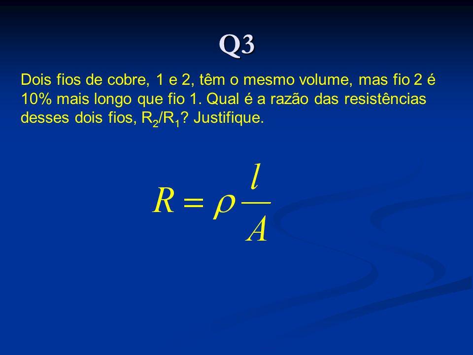 Q3 Dois fios de cobre, 1 e 2, têm o mesmo volume, mas fio 2 é 10% mais longo que fio 1.
