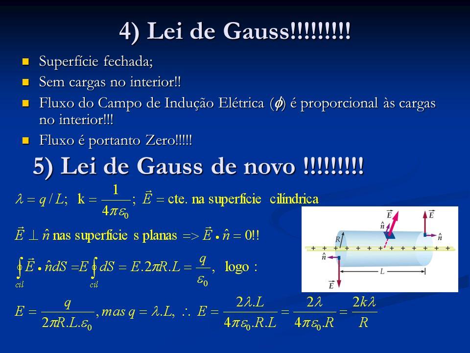4) Lei de Gauss!!!!!!!!! Superfície fechada; Superfície fechada; Sem cargas no interior!! Sem cargas no interior!! Fluxo do Campo de Indução Elétrica
