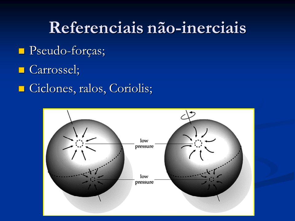 Referenciais não-inerciais Pseudo-forças; Pseudo-forças; Carrossel; Carrossel; Ciclones, ralos, Coriolis; Ciclones, ralos, Coriolis;