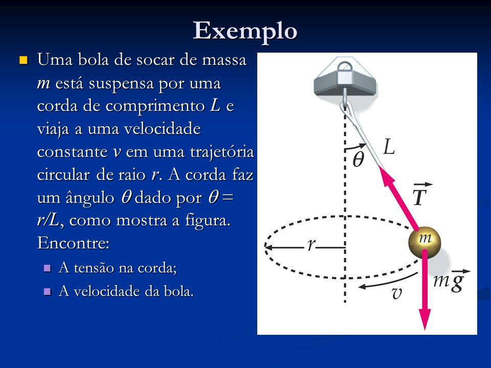 Exemplo Uma bola de socar de massa m está suspensa por uma corda de comprimento L e viaja a uma velocidade constante v em uma trajetória circular de r