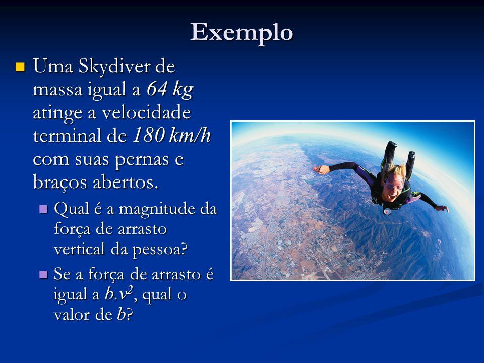 Exemplo Uma Skydiver de massa igual a 64 kg atinge a velocidade terminal de 180 km/h com suas pernas e braços abertos. Uma Skydiver de massa igual a 6