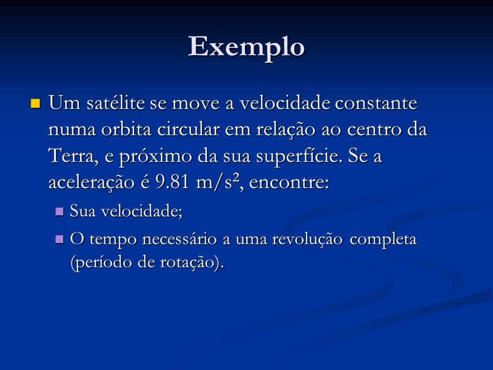 Exemplo Um satélite se move a velocidade constante numa orbita circular em relação ao centro da Terra, e próximo da sua superfície. Se a aceleração é