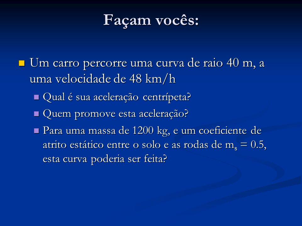 Façam vocês: Um carro percorre uma curva de raio 40 m, a uma velocidade de 48 km/h Um carro percorre uma curva de raio 40 m, a uma velocidade de 48 km