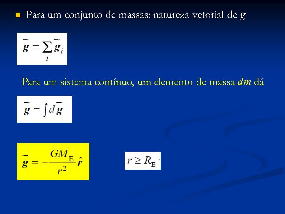 Para um conjunto de massas: natureza vetorial de g Para um conjunto de massas: natureza vetorial de g Para um sistema contínuo, um elemento de massa d