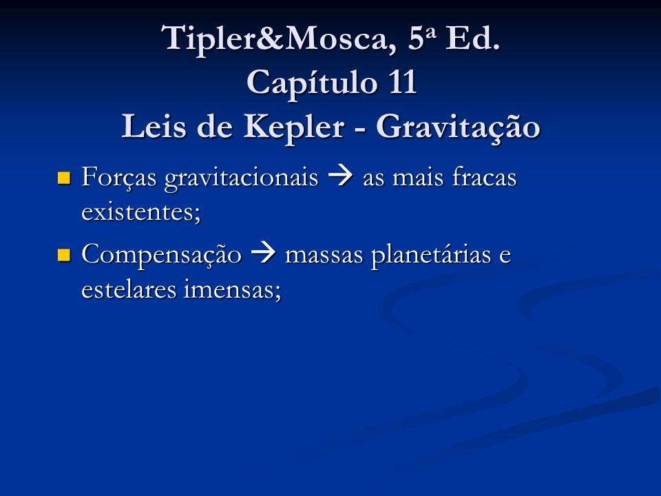 Tipler&Mosca, 5 a Ed. Capítulo 11 Leis de Kepler - Gravitação Forças gravitacionais as mais fracas existentes; Forças gravitacionais as mais fracas ex