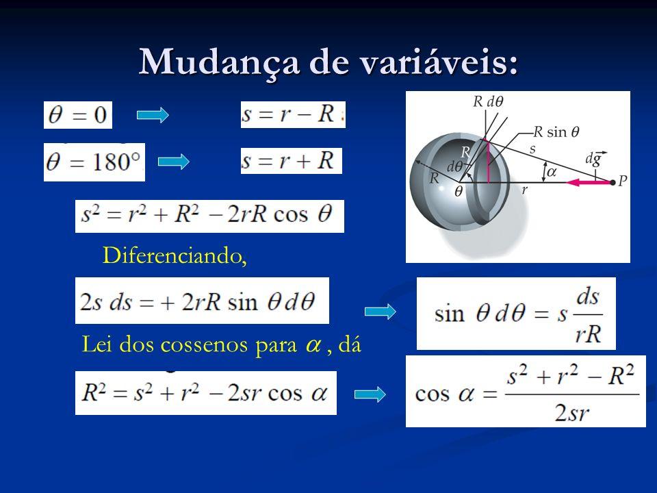 Mudança de variáveis: Diferenciando, Lei dos cossenos para, dá