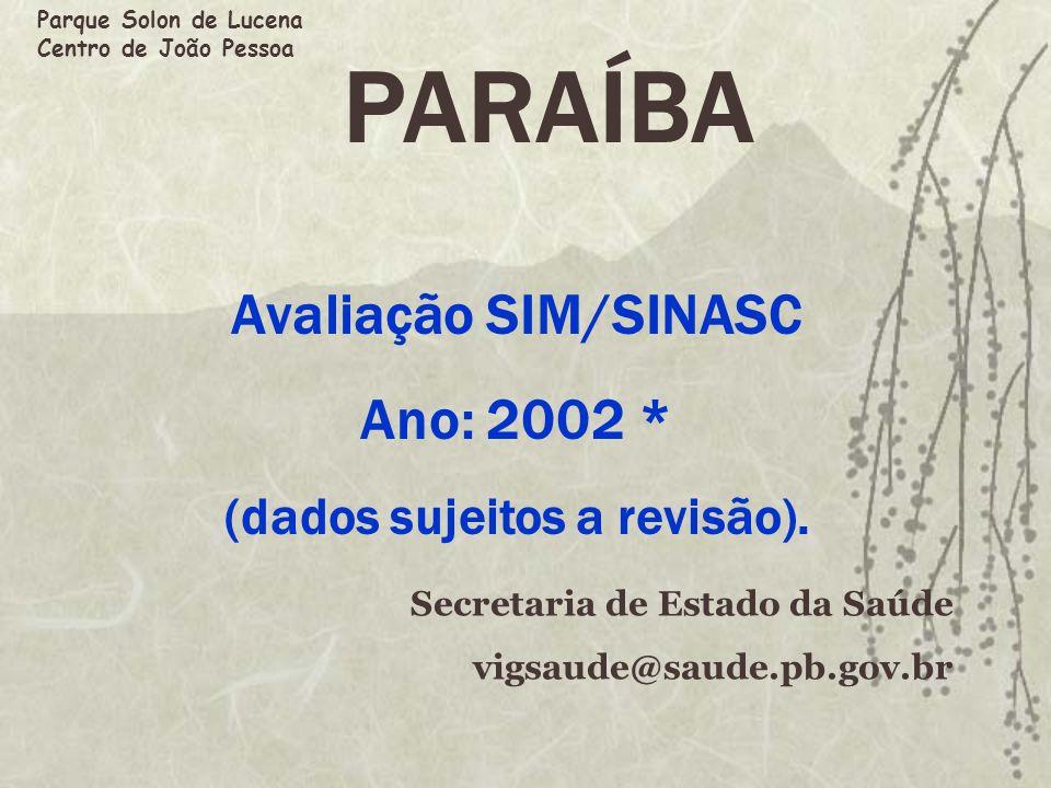 PARAÍBA Avaliação SIM/SINASC Ano: 2002 * (dados sujeitos a revisão). Secretaria de Estado da Saúde vigsaude@saude.pb.gov.br Parque Solon de Lucena Cen