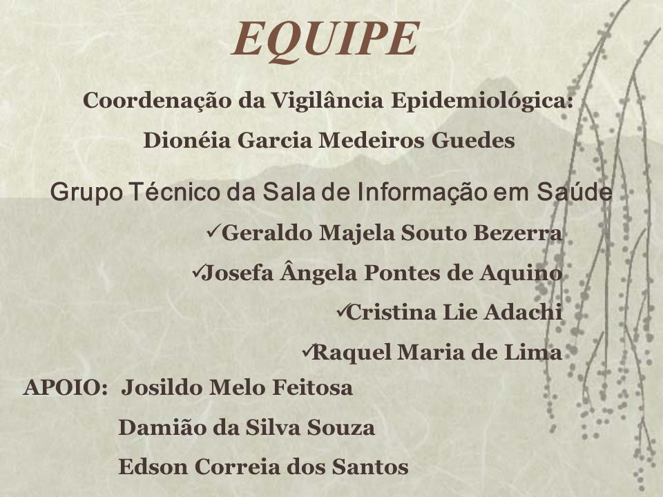 Grupo Técnico da Sala de Informação em Saúde Geraldo Majela Souto Bezerra Josefa Ângela Pontes de Aquino Cristina Lie Adachi Raquel Maria de Lima Coor