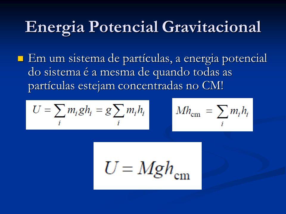 Energia Potencial Gravitacional Em um sistema de partículas, a energia potencial do sistema é a mesma de quando todas as partículas estejam concentrad