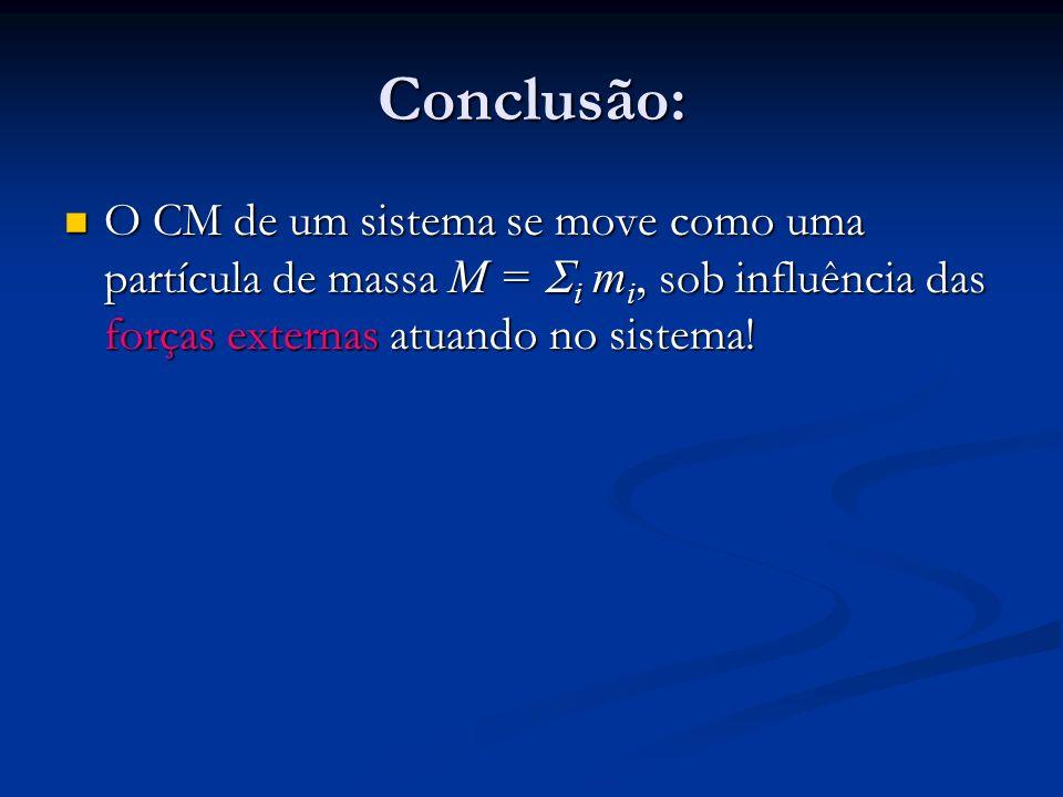 Conclusão: O CM de um sistema se move como uma partícula de massa M = i m i, sob influência das forças externas atuando no sistema! O CM de um sistema
