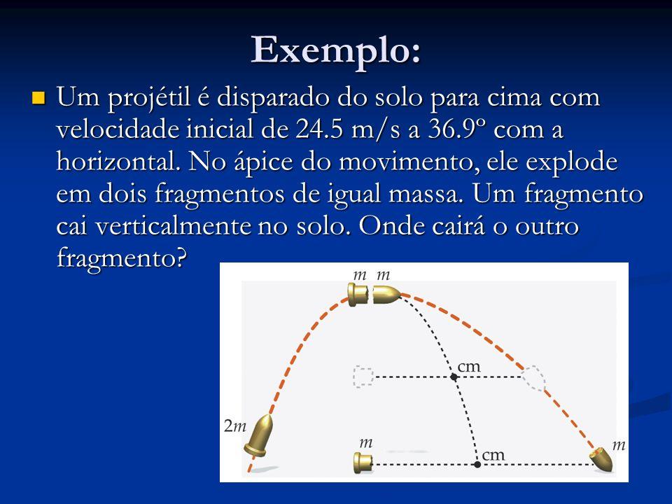 Exemplo: Um projétil é disparado do solo para cima com velocidade inicial de 24.5 m/s a 36.9º com a horizontal. No ápice do movimento, ele explode em