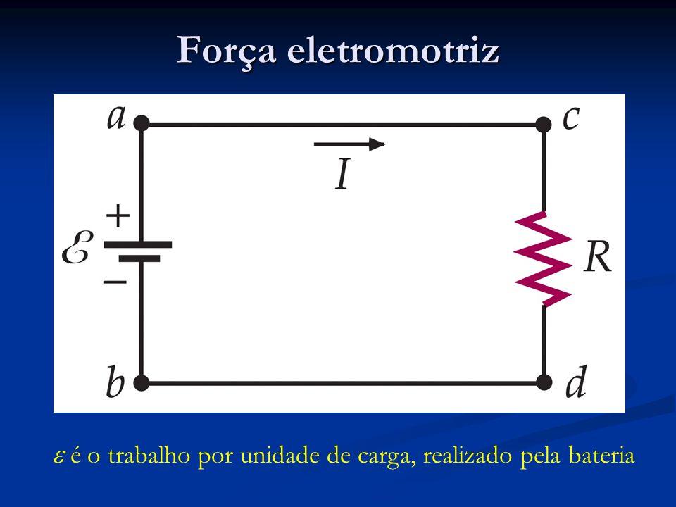 Força eletromotriz é o trabalho por unidade de carga, realizado pela bateria