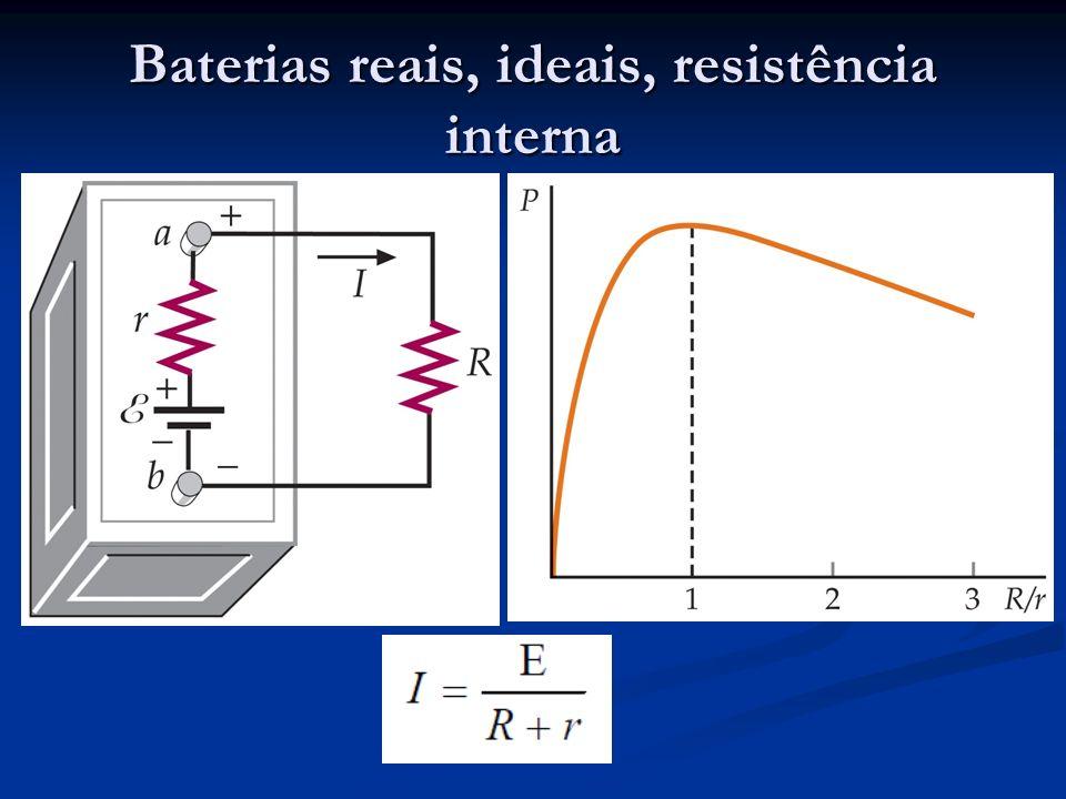 Baterias reais, ideais, resistência interna