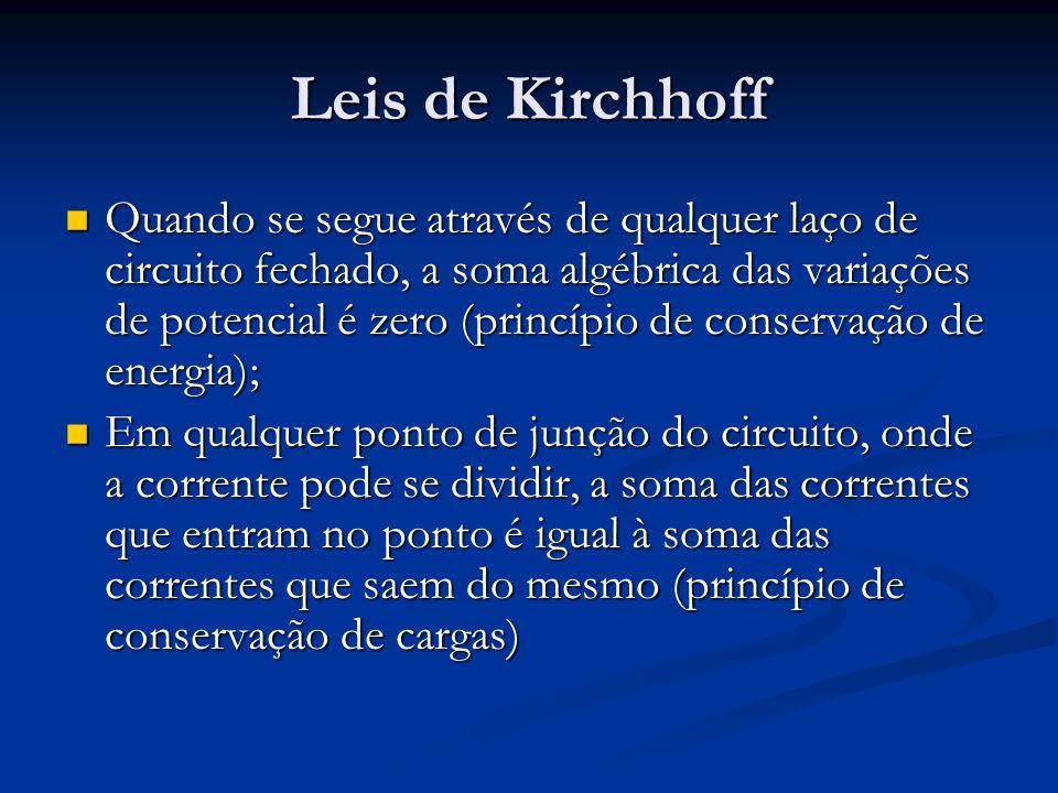 Leis de Kirchhoff Quando se segue através de qualquer laço de circuito fechado, a soma algébrica das variações de potencial é zero (princípio de conse