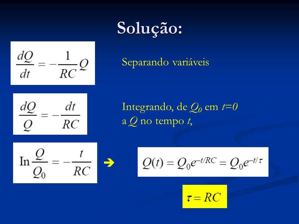 Solução: Separando variáveis Integrando, de Q 0 em t=0 a Q no tempo t,