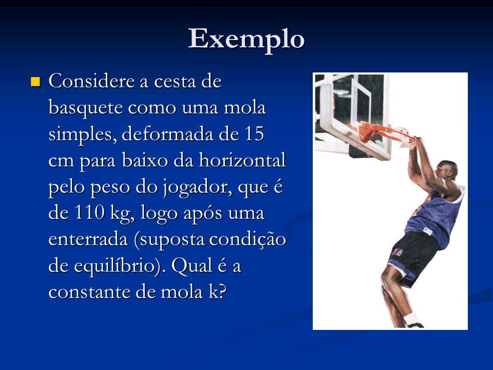 Exemplo Considere a cesta de basquete como uma mola simples, deformada de 15 cm para baixo da horizontal pelo peso do jogador, que é de 110 kg, logo a