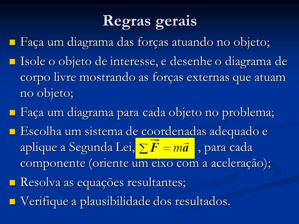 Regras gerais Faça um diagrama das forças atuando no objeto; Faça um diagrama das forças atuando no objeto; Isole o objeto de interesse, e desenhe o d