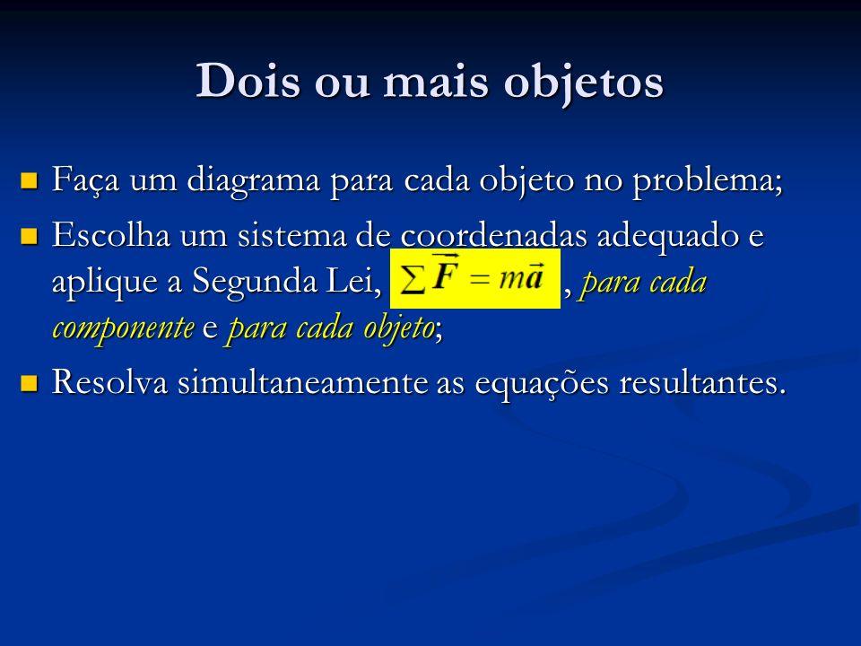 Dois ou mais objetos Faça um diagrama para cada objeto no problema; Faça um diagrama para cada objeto no problema; Escolha um sistema de coordenadas a