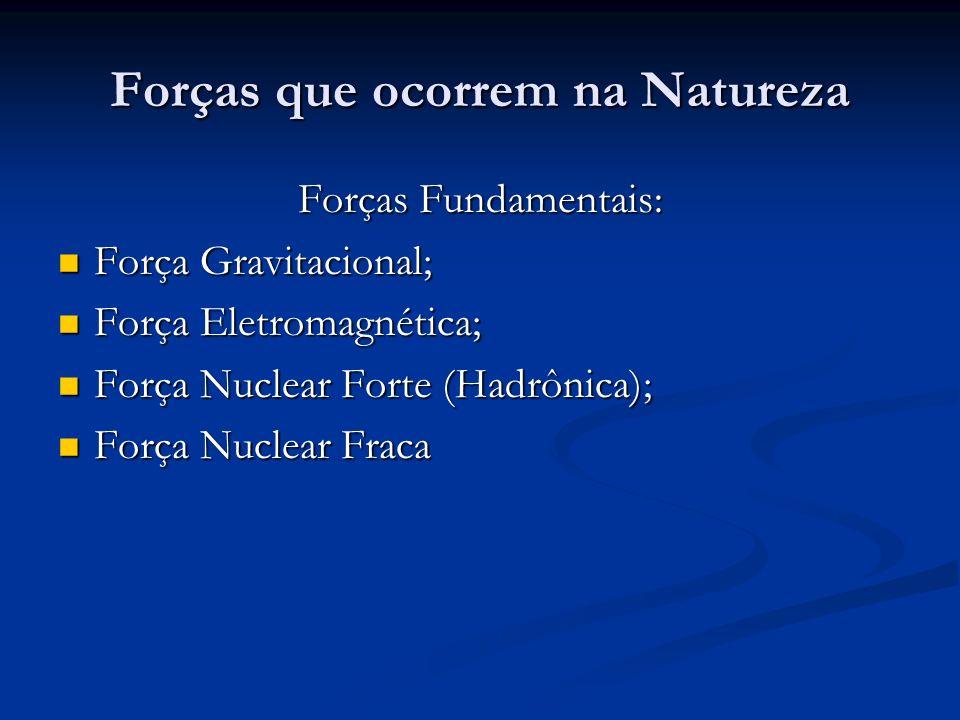 Forças que ocorrem na Natureza Forças Fundamentais: Força Gravitacional; Força Gravitacional; Força Eletromagnética; Força Eletromagnética; Força Nucl