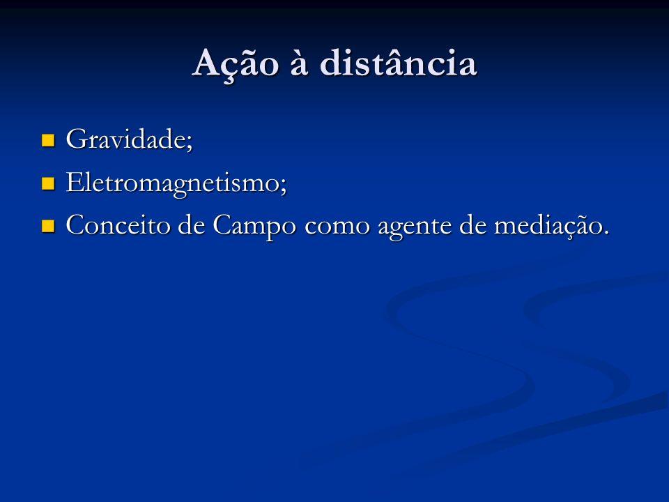 Ação à distância Gravidade; Gravidade; Eletromagnetismo; Eletromagnetismo; Conceito de Campo como agente de mediação. Conceito de Campo como agente de