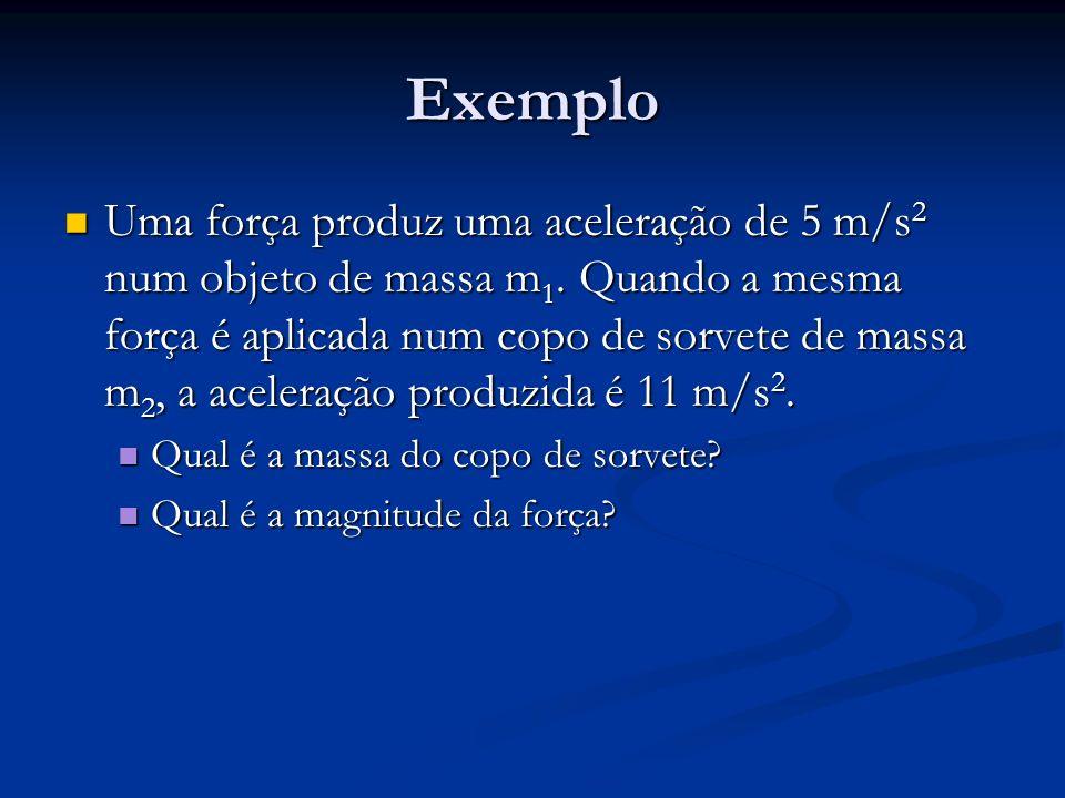 Exemplo Uma força produz uma aceleração de 5 m/s 2 num objeto de massa m 1. Quando a mesma força é aplicada num copo de sorvete de massa m 2, a aceler