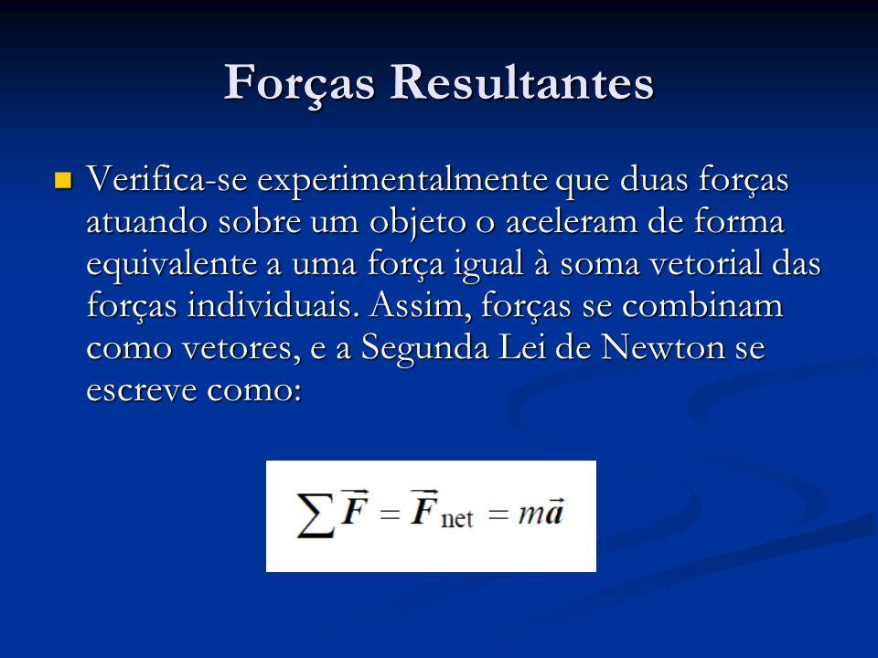 Forças Resultantes Verifica-se experimentalmente que duas forças atuando sobre um objeto o aceleram de forma equivalente a uma força igual à soma veto