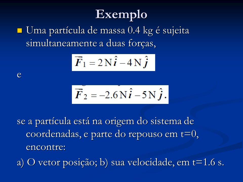 Exemplo Uma partícula de massa 0.4 kg é sujeita simultaneamente a duas forças, Uma partícula de massa 0.4 kg é sujeita simultaneamente a duas forças,e