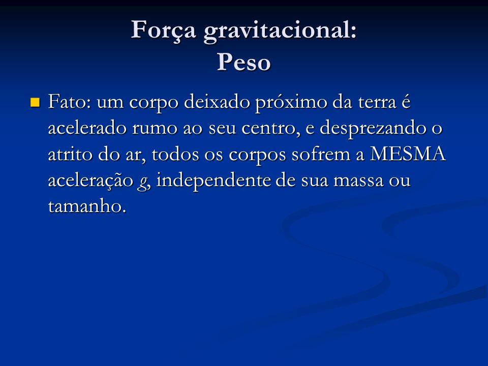 Força gravitacional: Peso Fato: um corpo deixado próximo da terra é acelerado rumo ao seu centro, e desprezando o atrito do ar, todos os corpos sofrem