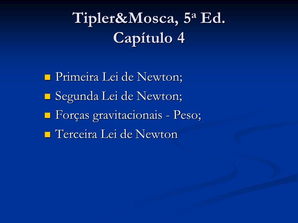 Tipler&Mosca, 5 a Ed. Capítulo 4 Primeira Lei de Newton; Primeira Lei de Newton; Segunda Lei de Newton; Segunda Lei de Newton; Forças gravitacionais -