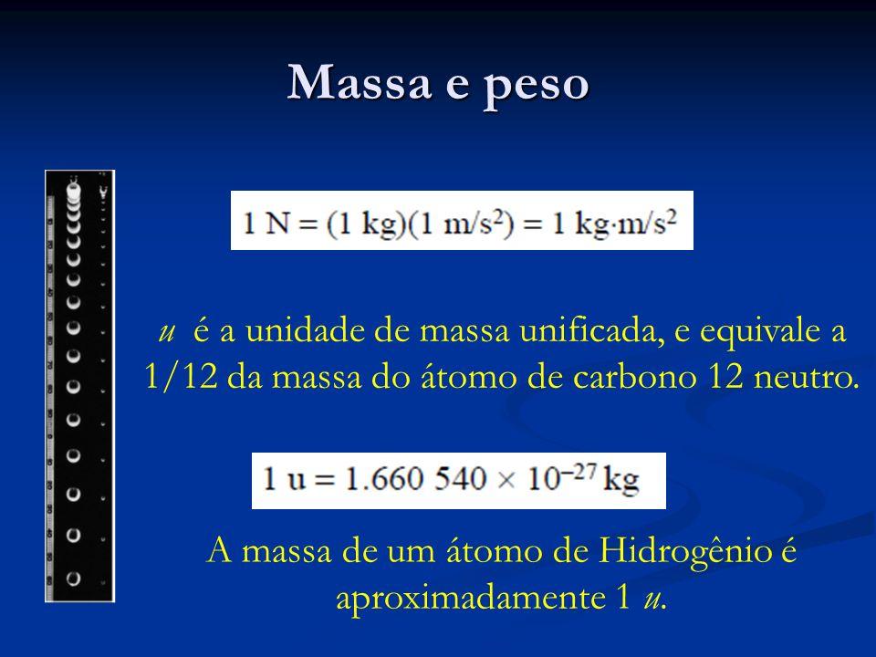 Massa e peso u é a unidade de massa unificada, e equivale a 1/12 da massa do átomo de carbono 12 neutro. A massa de um átomo de Hidrogênio é aproximad