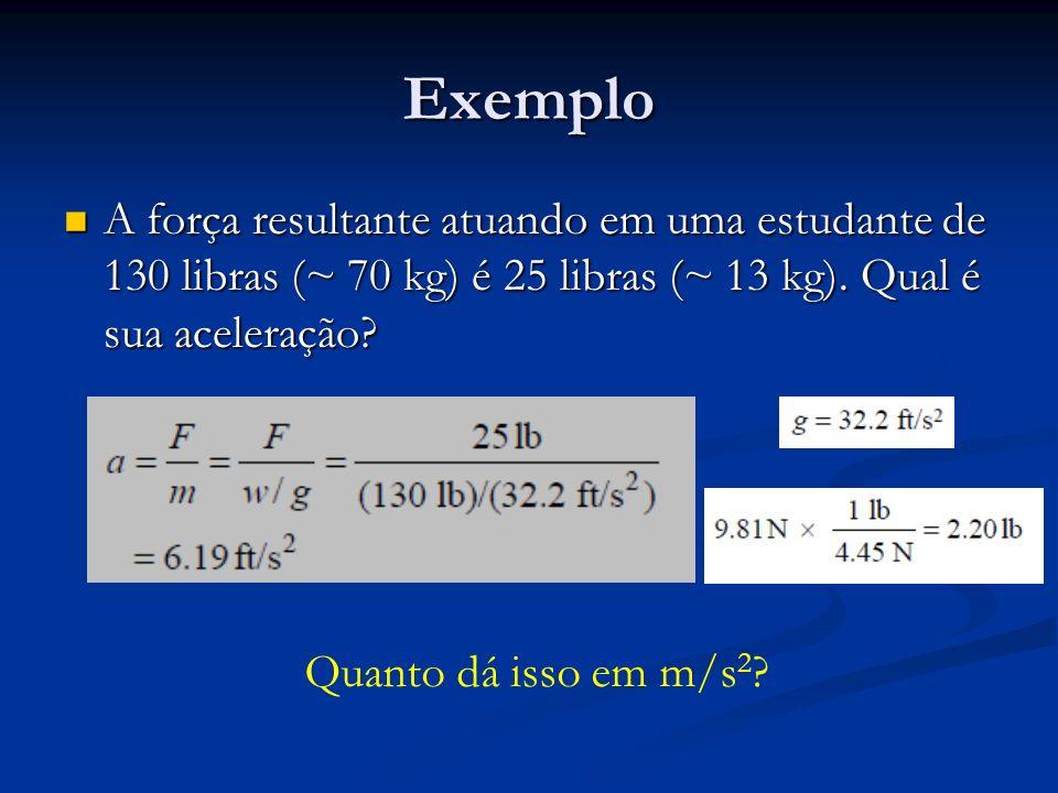 Exemplo A força resultante atuando em uma estudante de 130 libras (~ 70 kg) é 25 libras (~ 13 kg). Qual é sua aceleração? A força resultante atuando e