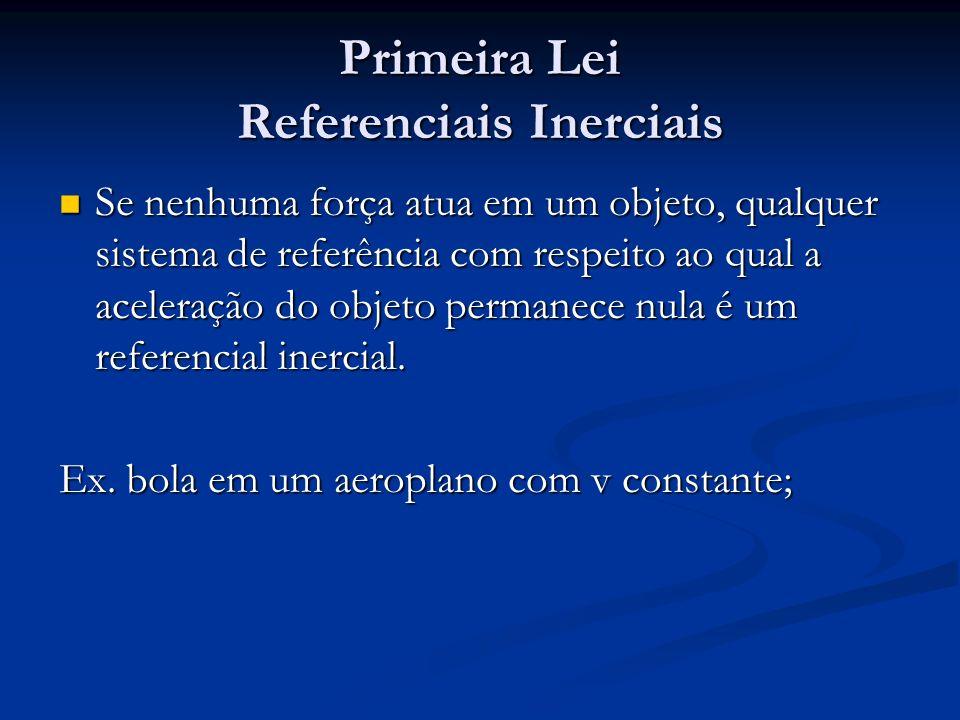 Primeira Lei Referenciais Inerciais Se nenhuma força atua em um objeto, qualquer sistema de referência com respeito ao qual a aceleração do objeto per