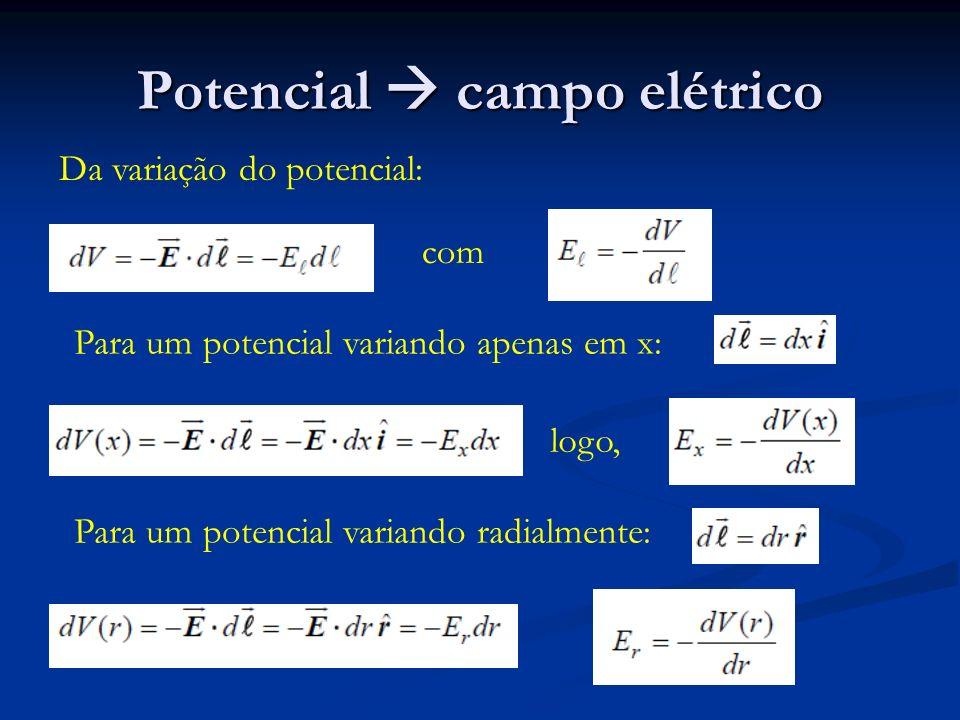 Potencial campo elétrico Da variação do potencial: com Para um potencial variando apenas em x: logo, Para um potencial variando radialmente: