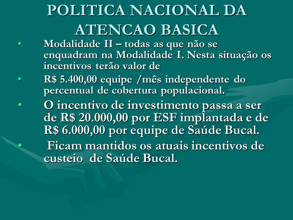POLITICA NACIONAL DA ATENCAO BASICA Modalidade II – todas as que não se enquadram na Modalidade I.