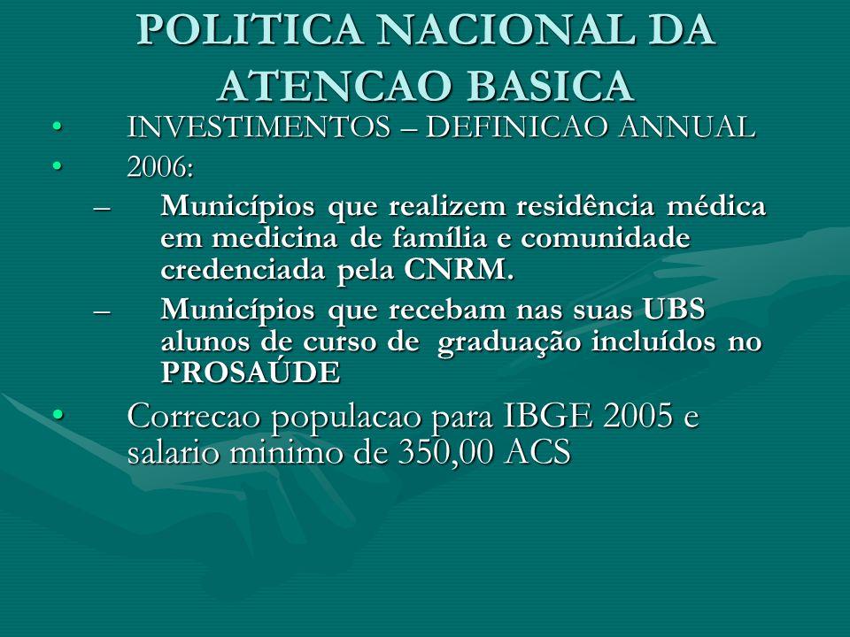 POLITICA NACIONAL DA ATENCAO BASICA INVESTIMENTOS – DEFINICAO ANNUALINVESTIMENTOS – DEFINICAO ANNUAL 2006:2006: –Municípios que realizem residência médica em medicina de família e comunidade credenciada pela CNRM.