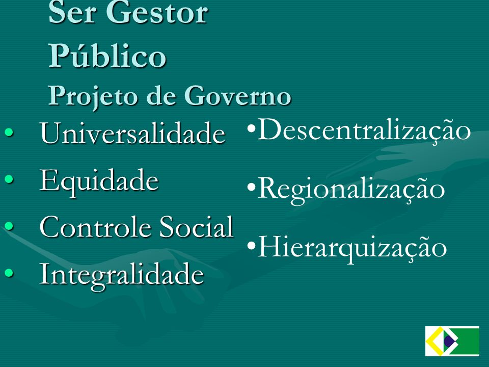 Ser Gestor Público Projeto de Governo UniversalidadeUniversalidade EquidadeEquidade Controle SocialControle Social IntegralidadeIntegralidade Descentralização Regionalização Hierarquização