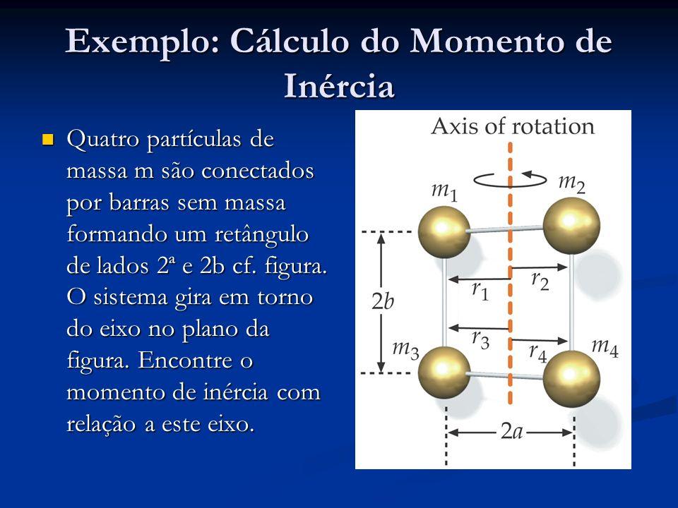 Exemplo: Cálculo do Momento de Inércia Quatro partículas de massa m são conectados por barras sem massa formando um retângulo de lados 2ª e 2b cf. fig