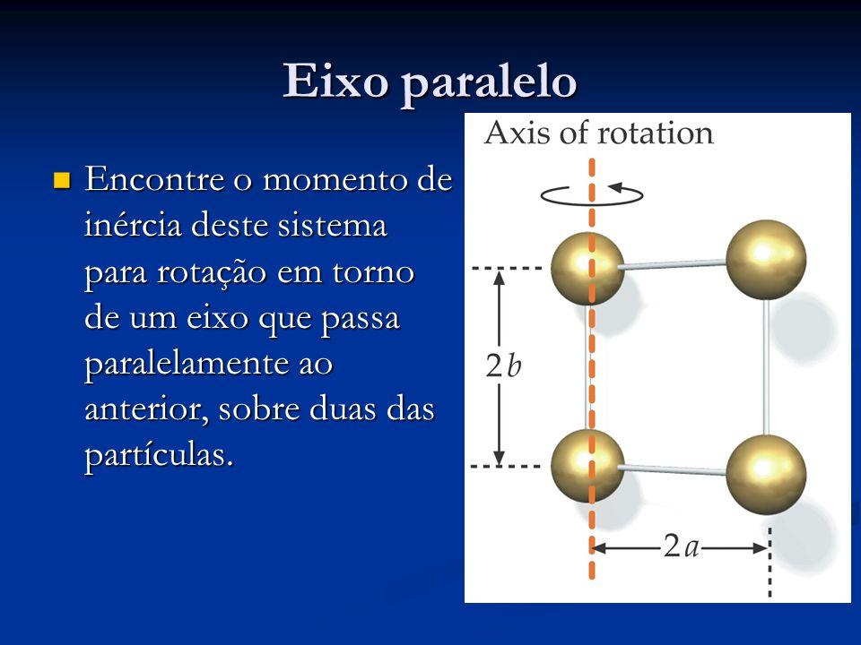 Eixo paralelo Encontre o momento de inércia deste sistema para rotação em torno de um eixo que passa paralelamente ao anterior, sobre duas das partícu