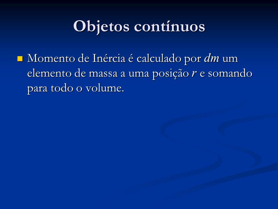 Objetos contínuos Momento de Inércia é calculado por dm um elemento de massa a uma posição r e somando para todo o volume. Momento de Inércia é calcul