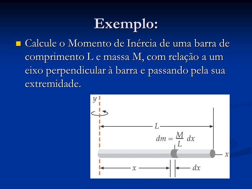 Exemplo: Calcule o Momento de Inércia de uma barra de comprimento L e massa M, com relação a um eixo perpendicular à barra e passando pela sua extremi