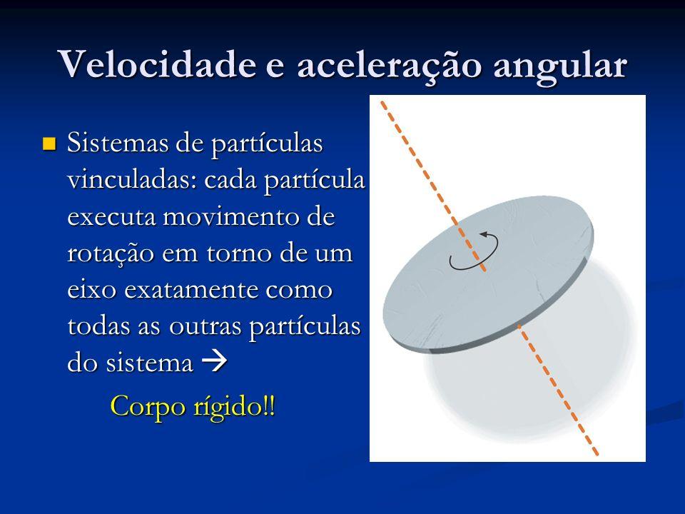 Velocidade e aceleração angular Sistemas de partículas vinculadas: cada partícula executa movimento de rotação em torno de um eixo exatamente como tod