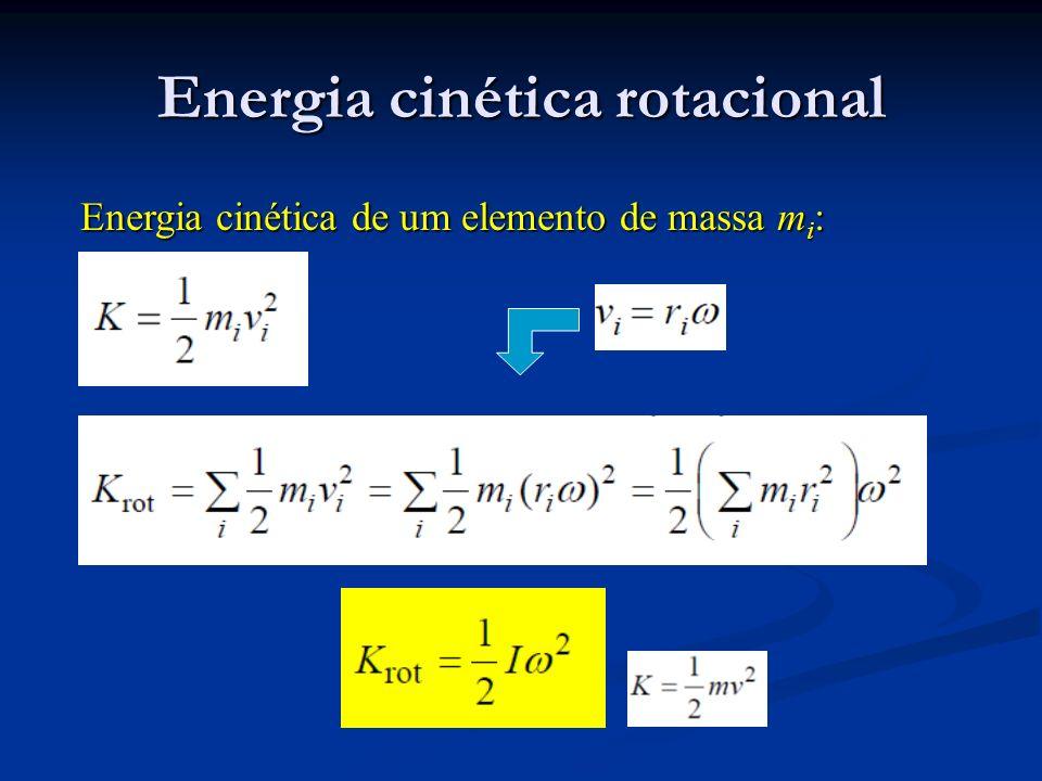 Energia cinética rotacional Energia cinética de um elemento de massa m i :